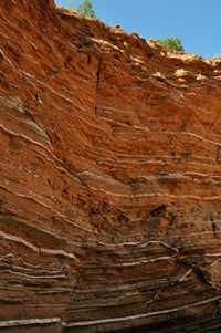 Streaks of gypsum are remnants of the ancient sea that covered the land that is now Caprock Canyons State Park.