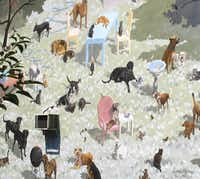 "A pet mural entitled ""Gimme Shelter' by David Guinn, is depicted on side of Morris Animal Refuge in Philadelphia. Since 1984 over 3,800 murals have been created on the sides of Philadelphiaaïs edifices. One can see them by foot, car or bicycle, but we opted for a guided trolley tour."
