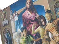 """Common Threads,"" probably the most famous of the Philadelphia murals. Since 1984 over 3,800 murals have been created on the sides of Philadelphia's edifices. One can see them by foot, car or bicycle, but we opted for a guided trolley tour."