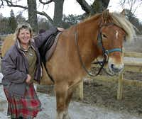 Stable manager Feona Laing, pictured here with Moss, led our group on a Highland pony ride over heather-covered moors at Rothiemurchus Estate is near Aviemore in Inverness-shire, Scotland.