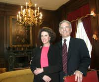 Lisa Blue and Fred Baron at a reception at their home in May 2005.