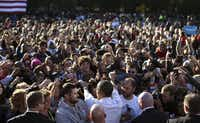President Barack Obama greeted a throng of supporters Tuesday on the campus of Ohio State University in Columbus.