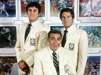 """Howard Cosell (center) helped popularize ballpark nachos after sampling them at Arlington Stadium and later raving about them to his fellow  """"Monday Night Football"""" sportscasters Dan Meridith and Frank Gifford."""