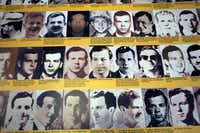 A poster bearing scores of head shots of Lee Harvey Oswald is part of the JFK Materials Collection.