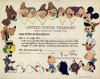 Disney images frame a paper war bond for the United States Treasury War Finance Committee.
