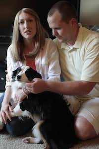 Michele Foust, (with husband, Andrew) plans to have her frozen eggs thawed when she is ready to become pregnant.
