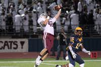 Plano tight end Colby Cantu (42) pulls down a pass from Brooks Panhans, and will take the ball to the end zone during the Oct. 10 game against McKinney. Plano won 28-7. The team plays McKinney Boyd at 7:30 p.m. Friday at McKinney's Ron Poe Stadium.