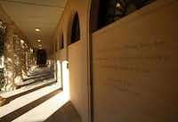 Quotes from George W. Bush are engraved on the corridor walls of the Texas Rose Garden.