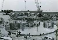 "A ""table base"" was laid for Reunion Tower in 1976. The column stood 500 feet tall on completion."
