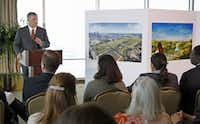 """Mayor Mike Rawlings (right), with City Manager A.C. Gonzalez, told the Fair Park task force Wednesday that he saw """"some real gold in the visions you laid out.""""Andy Jacobsohn  -  Staff Photographer"""