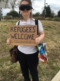 Heidi Hickman stages a counterprotest against the anti-refugee group. (Sarah Mervosh/Staff)