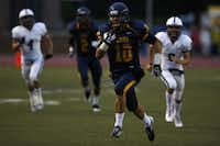 St. Mark's John Caldwell (10) runs for a touchdown during a game between St. Mark's and Fort Worth All Saints Sept. 20.