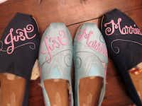 Customers can select from popular styles or create their own custom shoes for the big wedding day. Some customers buy artist Bekah Burch's shoes for relaxing on their honeymoon.