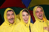 Garland Summer Musicals production of Singin in the Rain stars (from left) Joseph Jones as Don Lockwood, Hayley Ewerz as Cathy Selden, and Carl DeForrest Hendin as Cosmo Brown.