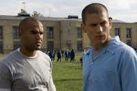 Fox's Prison Break was filmed in North Texas.  Pictured are series stars Amaury Nolasco (l) and Wentworth Miller as Sucre and Michael, plotting their escape from Fox River.