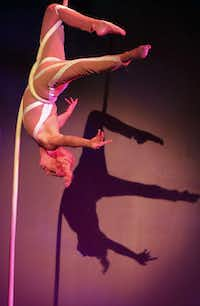 """With every single movement, you have to be engaged, and your core is working,"" says Stephanie Stewart, on being an aerialist at Lone Star Circus, shows and conventions."