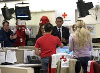 President Barack Obama made a visit to Red Cross headquarters in Washington, D.C., as he oversaw federal response efforts.
