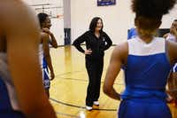 Duncanville girls basketball coach Cathy Self-Morgan addresses the team after practice.ROSE BACA