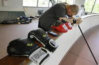 """Gafford takes a break between workouts. """"They will give your confidence back,"""" he said of the rehabilitation trainers.David Woo  -  Staff Photographer"""