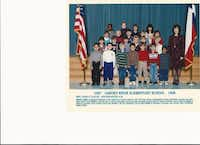 Musslewhite (second row, fourth from left) is pictured with her kindergarten class and teacher, Pam Taylor.Photo submitted by SHANNON MUSSLEWHITE