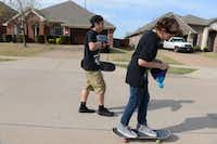 Ethan Raaum, 13, and Zack Rodkey, 14, skateboard down the street in their Frisco neighborhood.Photos by Rose Baca  - neighborsgo staff photographer