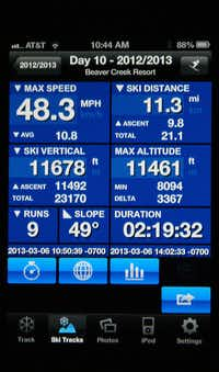 Ski Tracks App for iPhone, iPad and Android Phones__Every time we check the vertical feet and the speed we've skied, while eating lunch at a ski resort, someone stops to ask us where to get the Ski Tracks app. Ski Tracks uses your phone's GPS to monitor your ski day. It tracks how far you've skied, (and how far you've gone on lifts), your fastest speed, the distance, the number of runs, your vertical for the day and a lot more. You can save and share your day on Facebook or via email.