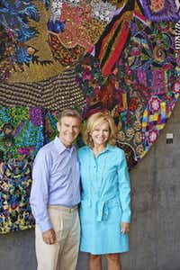 """""""We've been contributing over time to various groups,"""" says Craig Hall, pictured with wife Kathryn at Hall Wines in St. Helena, Calif. """"But now, I want to extend that.""""Adrián Gregorutti  -  Special Contributor"""