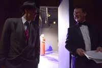 Actors Wes Cantrell (left) and Nelson Wilson chat backstage during a rehearsal at GLCT.Rose Baca - neighborsgo staff photographer