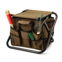 Both a tool bag and a folding chair, this versatile seat allows Dad to garden in comfort with all his supplies at hand. The multipurpose bag has 21 pockets for storage, two handles for carrying and detaches easily from the seat frame. $30, at uncommongoods.com.uncommongoods.com  - uncommongoods.com
