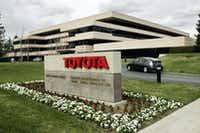 FILE - In this Jan. 23, 2008 file photo, Prius enters Toyota's U.S. headquarters in Torrance, Calif. Toyota on Monday, April 28, 2014 said that it will move its U.S. headquarters from California to Plano, Texas, a suburb of Dallas. Small groups of employees will start moving to temporary office space there this year, but most will not move until late 2016 or early 2017 when a new headquarters is completed.  (AP Photo/Reed Saxon, File)Reed Saxon - AP