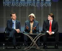 "FILE - In this July 29, 2013 file photo, from left, executive producer Neal Kendall, host/executive producer Arsenio Hall and executive producer John Ferriter participate in the ""The Arsenio Hall Show"" panel at the 2013 CBS Summer TCA Press Tour at the Beverly Hilton Hotel in Beverly Hills, Calif.  CBS Television Distribution says ""The Arsenio Hall Show"" is going off the air. The company said Friday, May 30, 2014, that the freshman talk show had failed to increase its audience and wont be back for a second year. (Photo by Frank Micelotta/Invision/AP, file)Frank Micelotta - Frank Micelotta/Invision/AP"
