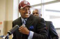 Skyline High wide receiver Thomas Johnson flashes a big smile, after he signed his National Letter of Intent to play college football for Texas A&M University at a ceremony held in the Skyline High School library on Wednesday, February 1, 2012. (John F. Rhodes/Special Contributor)