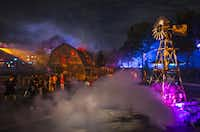 This September 2013 image provided by Universal Orlando in Orlando, Fla., shows visitors at the theme park's Halloween Horror Nights, which take place on select nights through Nov. 2.