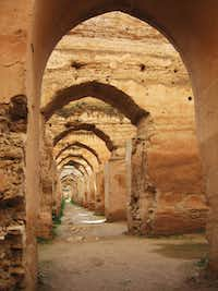 This January 2013 photo shows the ruins of the gigantic late 17th-century royal stables in Meknes, one of Morocco's former imperial capitals. With tourists thronging the shops in the city's medina, historical monuments can sometimes seem eerily empty.