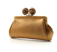"""the Tiffany Fall 2011 collection Tiffany """"Morgan"""" clutch, in camel satin with tiger's-eye bead"""