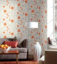 """""""Wonderland"""" from York Wallcoverings was inspired by the animated movie Alice in Wonderland. Alice feared the vines might ensnare her."""