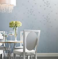 """""""Flutter"""" wallpaper pattern was inspired by the flock of bluebirds in the movie Cinderella that helped sew her ballgown."""