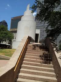 A set of steps and bridge lead to the Chapel of Thanks-Giving at Thanks-Giving Square in downtown Dallas.