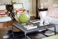 The coffee table in Sarah Harmeyer's Uptown home was made with wood from an 80-year-old barn.