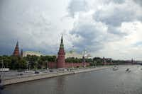 This angle on Moscow's Kremlin, as seen from a nearby bridge, is referred-to as the CNN view because of its use  on TV newscasts.