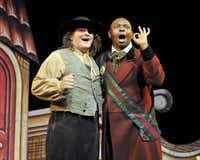 L-R: Zach Hess and Njabulo Mthimkhulu appear in the Dallas Opera's Doctor Miracle.