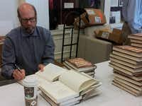 "Actor-author Stephen Tobolowsky signs his book ""The Dangerous Animals Club"" at Southern Methodist University on Oct. 3, 2012."