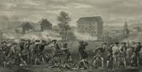 Minute Men are fired upon in 1775 by British troops in Lexington, Mass., as shown in this 1903 engraving credited to John H. Daniels & Son, Boston.