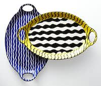 Duro Olowu Black Wave and Blue Wave platters, $35 in JC Penney stores and online at jcp.com.