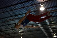 Isaac Rowley practices his trampoline routine at Eagle's Wings Athletics in Allen. Rowley and his teammate Hope Bravo have qualified for the USA team and will compete in the 2013 World Trampoline and Tumbling Championships this week in Sofia, Bulgaria.ROSE BACA