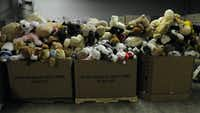Donations sit in boxes at a warehouse in Newtown, Connecticut, on Thursday, December 27, 2012, where thousands of stuffed animals, toys and other gifts have been arriving after the Sandy Hook Elementary School shooting. (Rick Hartford/Hartford Courant/MCT)Rick Hartford - MCT