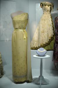 """The State Dinner dress of first lady Jacqueline Bouvier Kennedy is on display at the Smithsonian's National Museum of American History, Friday, November 18, 2011 in Washington, D.C. The National Museum of American History held a press preview of """"The First Ladies,"""" an exhibit showcasing objects from the century-old First Ladies Collection."""