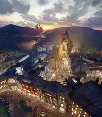 This artist rendering provided by NBC Universal shows the new Harry Potter-themed area of the Universal theme park in Orlando, Fla., planned for 2014, which was inspired partly by the fictional Diagon Alley from the Harry Potter books and movies.