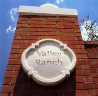 The Valley Ranch pylon momument that once greeted drivers entering the north Irving community on South MacArthur Boulevard.