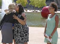 Gubernatorial candidate Wendy Davis had a news conference Tuesday outside Dallas City Hall, appearing with two women who served as inspiration for changes to rape laws: Lavinia Masters (center) and Nicole Anderson.David Woo  -  Staff Photographer